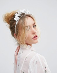 ASOS Occasion Floral and Pearl Halo Headband - White