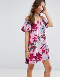 ASOS Off Shoulder Sundress in Pink Floral Print - Multi