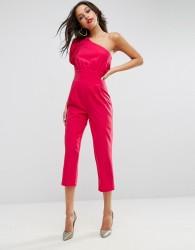 ASOS One Shoulder 80s Jumpsuit - Pink