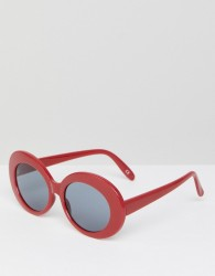 ASOS Oval Sunglasses in Red - Red