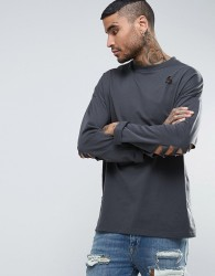 ASOS Oversized Long Sleeve T-Shirt In Washed Black With Distressing - Grey