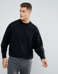 ASOS Oversized Long Sleeve T-Shirt With Extreme Batwing In Cropped Length In Black - Black