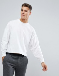 ASOS Oversized Long Sleeve T-Shirt With Extreme Batwing In Cropped Length In White - White