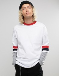 ASOS Oversized Longline Long Sleeve T-Shirt With Retro Colour Blocking And Layered Sleeve - White