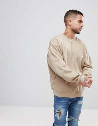 ASOS Oversized Sweatshirt In Beige - Beige