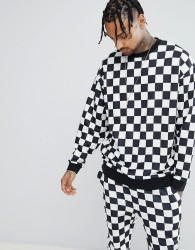 ASOS Oversized Sweatshirt In Checkerboard - Black