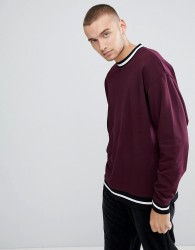 ASOS Oversized Sweatshirt With Contrast Tipping In Burgundy - Red