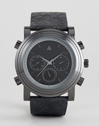 ASOS Oversized Watch With Black Distressed Strap - Black