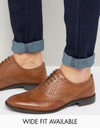 ASOS Oxford Brogue Shoes in Tan Leather - Tan