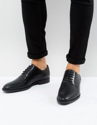 ASOS Oxford Shoes In Black Faux Leather With Emboss Detail - Black