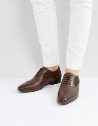 ASOS Oxford Shoes In Brown Leather With Suede Panel Detail - Brown