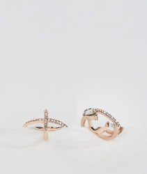 ASOS Pack of 2 Crystal Kiss and Midi Ring Pack - Copper