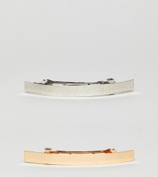 ASOS Pack of 2 Hammered Bar Hair Clips - Multi
