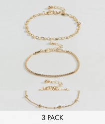ASOS Pack of 3 Disc and Ball Chain Bracelets - Gold
