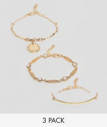 ASOS Pack of 3 Vintage Style Disc and Curved Bar Bracelets - Gold
