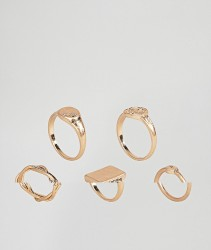 ASOS Pack of 5 Vintage Style Signet Rings - Gold