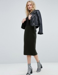 ASOS Pencil Skirt in Quilted Velvet - Green