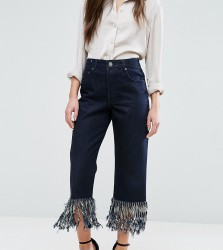 ASOS PETITE Authentic Straight Leg Jeans in James Wash with Fringe Hem - Black