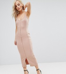 ASOS PETITE Bodycon Maxi Dress with Popper Details - Beige