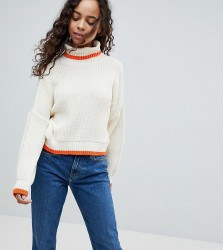 ASOS PETITE Chunky Crop Jumper With High Neck And Tipping - Cream