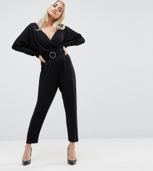 ASOS PETITE Jersey Jumpsuit with Batwing Sleeve and Belt - Black