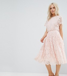 ASOS PETITE Lace Crop Top Midi Prom Dress - Pink