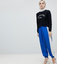 ASOS PETITE Plisse Joggers with Side Stripe - Blue
