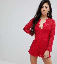 ASOS PETITE Premium Lace Playsuit - Red