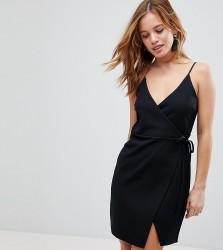 ASOS PETITE Scuba Cami Wrap Mini Dress - Black