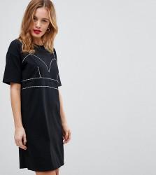 ASOS PETITE T-Shirt Dress With Contrast Seaming - Black