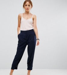 ASOS PETITE Tapered Trouser With Strapping D Ring Ankle Detail - Navy