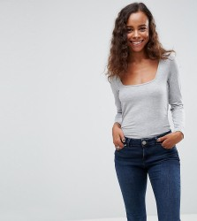 ASOS PETITE Top with Square Neck and Long Sleeve - Grey