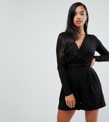 ASOS PETITE Wrap Front Playsuit with Long Sleeves - Black