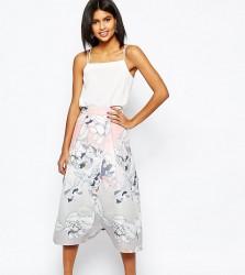 ASOS PETITE Wrap Prom Midi Skirt in Floral Print - Multi