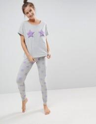 ASOS Placement Fluffy Star Tee & Legging Pyjama Set - Grey