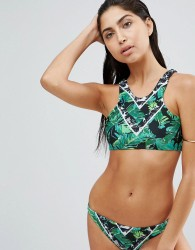 ASOS Placement Graphic Palm Print Halter Bikini Top - Multi
