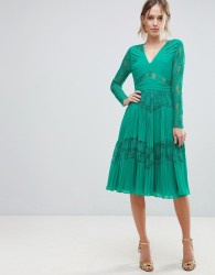 ASOS Pleated Lace Insert Midi Dress - Green