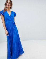 ASOS Pleated Maxi Dress with Flutter Sleeve - Blue
