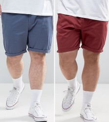 ASOS PLUS 2 Pack Slim Chino Shorts In Burgundy & Blue SAVE - Multi