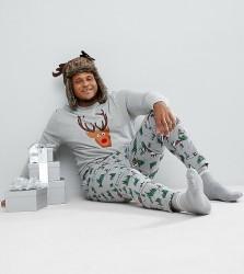 ASOS PLUS Christmas Pyjama Jogger Bottoms With Alpine Print - Grey