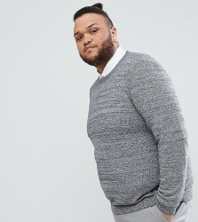 ASOS PLUS Cotton Jumper In Black And White Twist - Grey