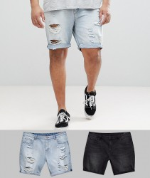 ASOS PLUS Denim Shorts In Slim Washed Black & Light Wash With Heavy Rips - Multi