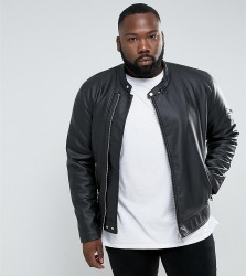 ASOS PLUS Faux Leather Racing Jacket In Black - Black