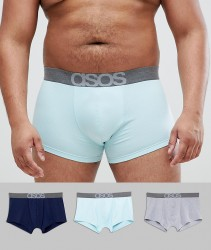 ASOS PLUS Hipsters In Tonal Blue 3 Pack - Blue