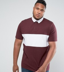 ASOS PLUS Longline Rugby Polo Shirt In Oxblood With Contrast Panel - Red