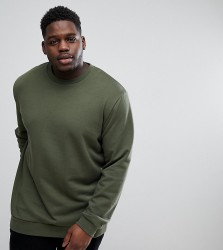 ASOS PLUS Longline Sweatshirt In Green - Green
