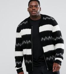 ASOS PLUS Mohair Wool Blend Bomber Jacket In Monochrome Stripe - Black
