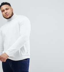 ASOS PLUS Roll Neck Cotton Jumper In Pale Grey - Grey