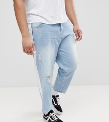 ASOS PLUS Skater Jeans In Light Wash With Abrasions And Side Stripe - Blue