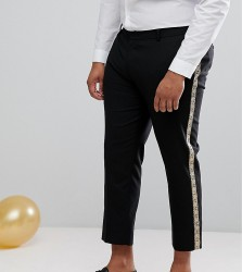 ASOS PLUS Skinny Suit Trousers In Black With Gold Brocade Side Stripe - Black